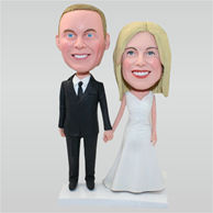 Groom in black suit and his bride in white wedding dress custom bobbleheads