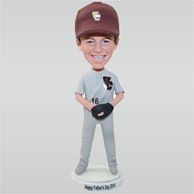Father in grey sports suit playing baseball custom bobbleheads