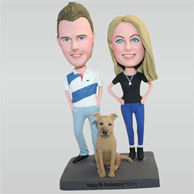 Yong husband and young wife with their lovely pet dog custom bobbleheads