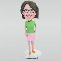 Tall woman in green T-shirt matching with a pink skirt custom bobbleheads