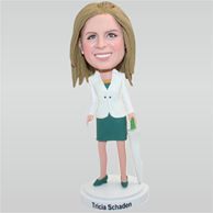 Office lady in white suit holding an umbrella custom bobbleheads