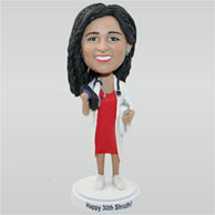 Beautiful female doctor in doctor's overall custom bobbleheads