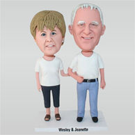 Old man in white shirt and his wife in white shirt custom bobbleheads