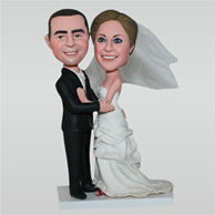 Groom in black suit and bride in white wedding dress custom bobbleheads