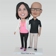 Man in black T-shirt and his wife in white coat custom bobbleheads