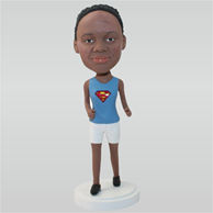 Woman in blue vest matching with white shorts custom bobbleheads