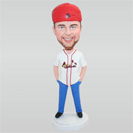 Man in white shirt matching with a red cap custom bobbleheads