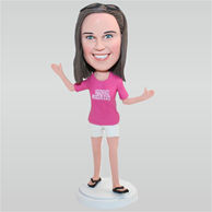 Woman in rose shirt matching with white shorts custom bobbleheads