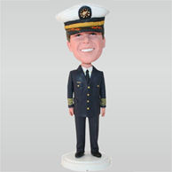 Captain in black uniform and wearing a hat custom bobbleheads