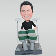 Custom man bobbleheads in black shirt playing drum