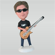 Sunglasses man playing the guitar custom bobbleheads