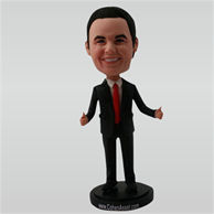 Business man in black suit custom bobbleheads