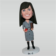 Fashion female doctor in dress custom bobbleheads