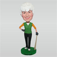 Woman in green waistcoat holding a baseball bat custom bobbleheads