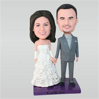 Groom in grey suit and bride in white wedding dress custom bobbleheads