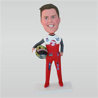 Male racing driver in red racing suit custom bobbleheads