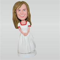 Yellow hair woman in white dress custom bobbleheads