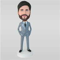 Man in grey suit custom bobbleheads