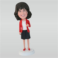 Woman in red coat matching with black dress custom bobbleheads