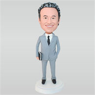 Business man in grey suit holding a notebook custom bobbleheads