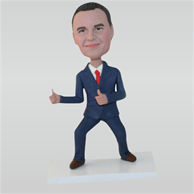 Man in blue suit thumb up custom bobbleheads