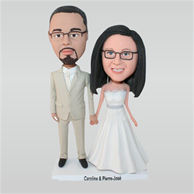 Glasses groom in beige suit and bride in white wedding dress custom bobbleheads