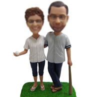 Personalized Custom Baseball couple bobbleheads