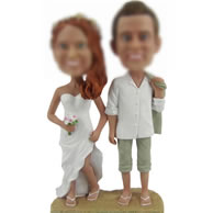 Personalized Custom bobbleheads of Beach wedding