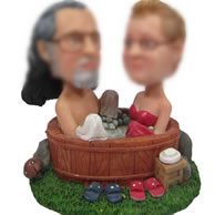 Personalized Custom bobbleheads of Couple sauna