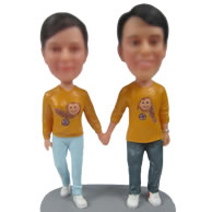Personalized Custom bobbleheads of Couple shirt