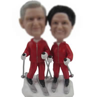 Personalized Custom bobbleheads of Couple skiing