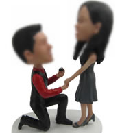 Personalized Custom bobbleheads of marriage proposal