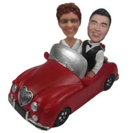 Personalized Custom bobbleheads with red car