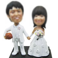 Personalized Custom Wedding bobbleheads of basketball