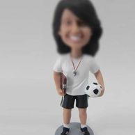 Female football coach bobble head doll
