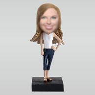 Personalized custom beautiful woman bobbleheads