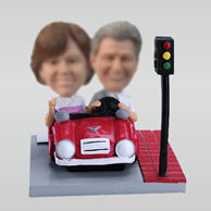 Personalized custom couple with car bobbleheads