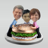 Personalized custom family with hamburger bobbleheads