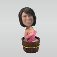 Personalized custom female bobbleheads  in the bath