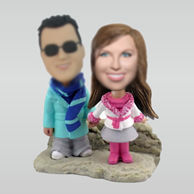 Personalized custom Happiness couple bobblehead doll