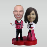 Personalized custom Korean clothing couple bobbleheads