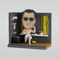 Personalized custom male bobbleheads  in the bath