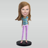 Personalized custom Modern girl bobbleheads