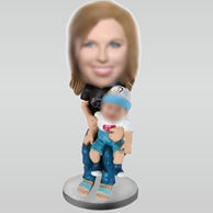 Personalized custom Mom and baby bobbleheads