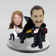 Personalized custom Piano wedding bobbleheads