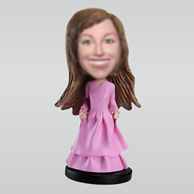 Personalized custom pink dress bobble heads