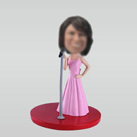 Personalized custom pink singer bobbleheads