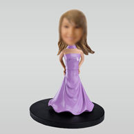 Personalized custom Purple evening dress bobbleheads