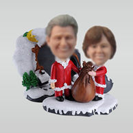 Personalized custom Santa Couple bobbleheads