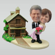 Personalized custom Suburbs wedding bobbleheads